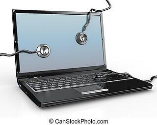 repair., ordinateur portable, stéthoscope, service