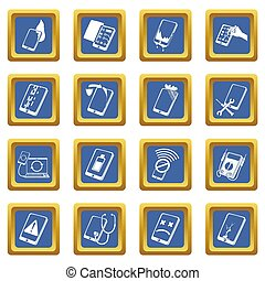 Repair phones fix icons set blue square isolated on white...