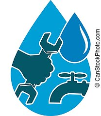 Repair plumbing and water supply systems, and a drop of hand with a wrench