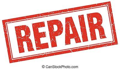 repair red grunge square stamp on white