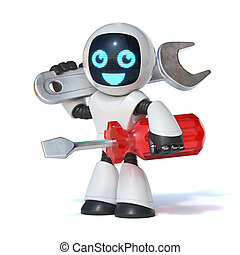 Repair robot holding wrench tool and screwdriver, IT support, 3d rendering isolated illustration