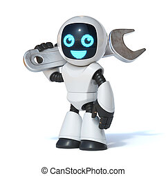 Repair robot holding wrench tool, IT support, 3d rendering isolated illustration