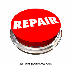 Repair Round Red Button Fix Mechanic 3d Illustration