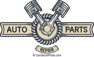Repair service emblem, signboard. - Piston gear and space...
