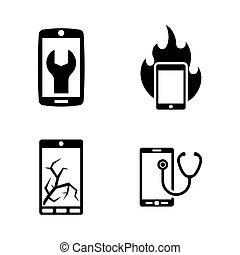 Repair Service Phone. Simple Related Vector Icons