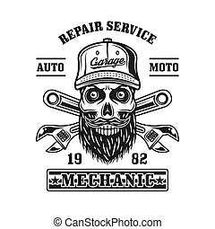 Repair service vector emblem with mechanic skull