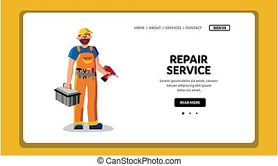 Repair Service Worker With Instrument Box Vector