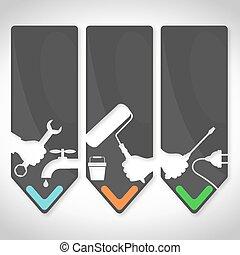 Repair symbol - Repair set for business symbols vector