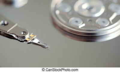 repair the hard drive. twist the screw Hard Disk Drive Close Up