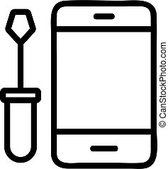 Repair the phone icon vector. Isolated contour symbol illustration