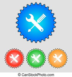 Repair tool sign icon. Service symbol. screwdriver with wrench. Set of colored buttons. Vector