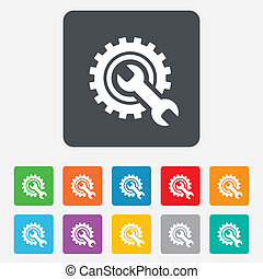 Repair tool sign icon. Service symbol. Hammer with wrench. ...