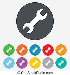 Repair tool sign icon. Service symbol. Round colourful 11...
