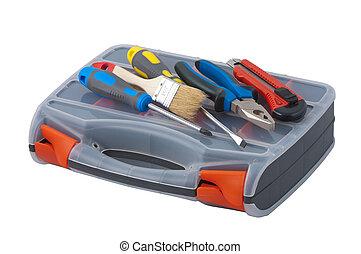 Repair tools are on the plastic box.