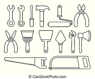 repair tools design - repair tools related icons over ...