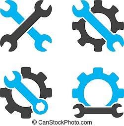 Repair Tools Flat Bicolor Vector Icons
