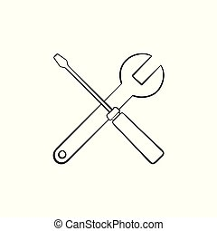 Repair tools hand drawn outline doodle icon.