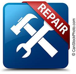 Repair (tools icon) blue square button red ribbon in corner