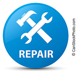 Repair (tools icon) cyan blue round button