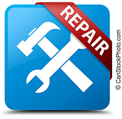 Repair (tools icon) cyan blue square button red ribbon in corner
