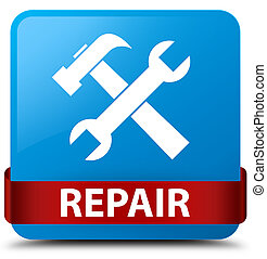 Repair (tools icon) cyan blue square button red ribbon in middle