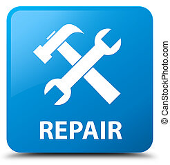Repair (tools icon) cyan blue square button