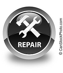 Repair (tools icon) glossy black round button