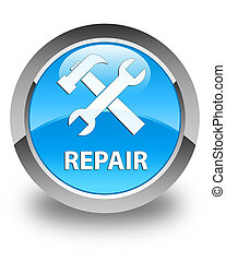 Repair (tools icon) glossy cyan blue round button