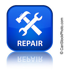 Repair (tools icon) special blue square button