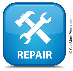 Repair (tools icon) special cyan blue square button
