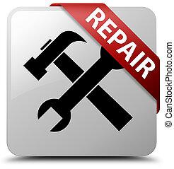 Repair (tools icon) white square button red ribbon in corner
