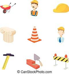 Repair tools icons set, cartoon style
