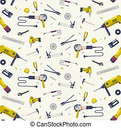Repair tools seamless pattern. Design in flat style. Color ...