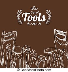 Repair tools sketch icons, decorative illustration. Vector
