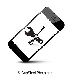 Repair Tools Symbol on Mobile Phone Icon