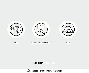 Repair Works. Flat Illustration Set of Line Modern Icons