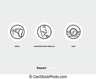 Repair Works. Flat Illustration Set of Line Modern Icons