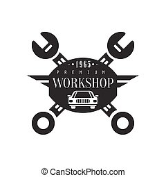 Repair Workshop Black And White Label Design Template With Crossed Wrenches And Car Silhouette