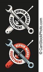 Repair workshop emblem template