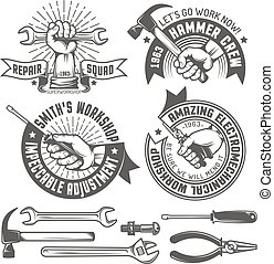 Repair workshop logo with hands and tools in vintage style. ...