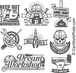 repair workshop logos - Set of vintage logos to repair ...