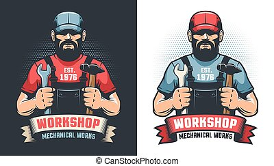 Repair workshop retro logo with handyman and tools