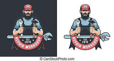 Repair workshop vintage logo with worker in cap