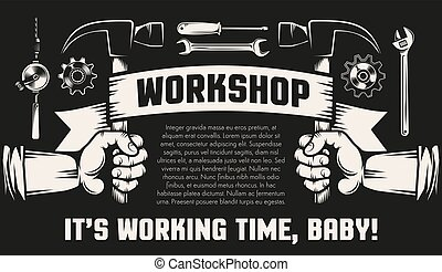 Repair workshop with hands and working tools
