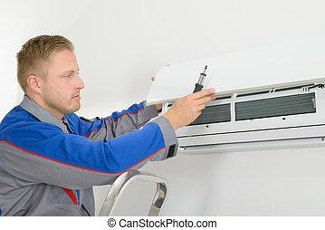 repairer, reparar, condicionador ar