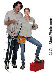 Repairers with antenna on white background