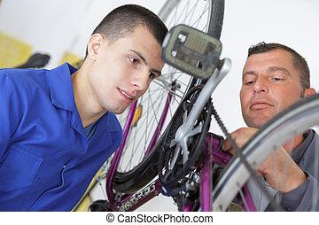 repairing a bicycle