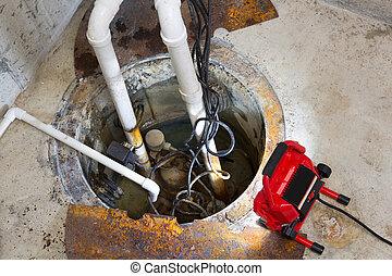 Repairing a sump pump in a basement with a red LED light...