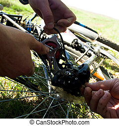Repairing bicycle