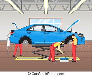 Repairing Blue Car in Garage Vector Illustration